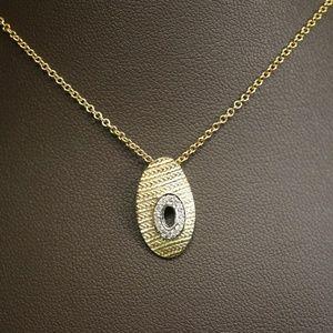 14KTT Gold & Genuine Diamond Pendant W/Cable Chain